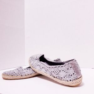 Shoes - Silver Metallic Crochet Woven Flats*NEW*Sz 7*